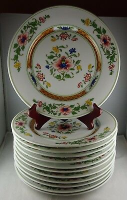 Set of 12 Heinrich Parnass German China Large Dinner Plates - Rust, Floral Minty