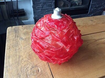 Mid Century Retro Vintage Red Spaghetti Ribbon Lucite Resin Light Fixture Lamp