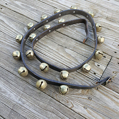 Vintage Horse Sleigh Jingle Bells 72 inch Leather Strap 20 Brass bells