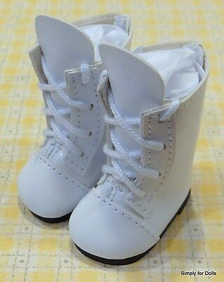 """WHITE Lace-Up Tall DOLL BOOTS SHOES fits American Girl 14.5"""" WELLIE WISHERS"""