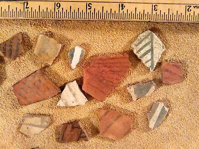 Decorated Anasazi Pottery Shard Assortment Collected in Southern Utah