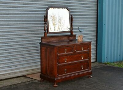 Antique Solid Oak Gentlemen's Dressing Table Chest of Drawers.