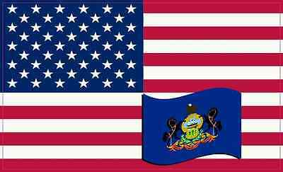 5×3 America and Pennsylvania Flag Magnet Vinyl State Vehicle Bumper Magnets