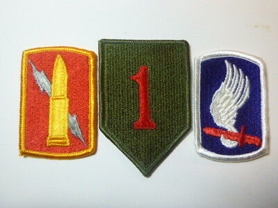 A   Lot of Three U S Army  Merrowed Edge  Patches # A-7