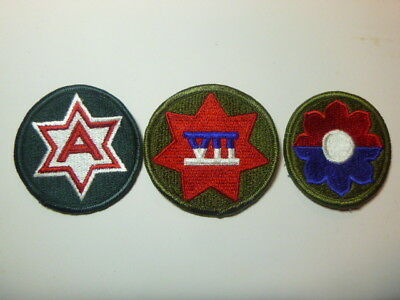 A   Lot of Three U S Army  Merrowed Edge  Patches # A-19