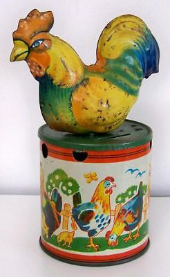 1900s GERMAN IMPORT LITHO TIN SITTING ROOSTER/CHICKEN ON DRUM STILL BANK, BRIGHT
