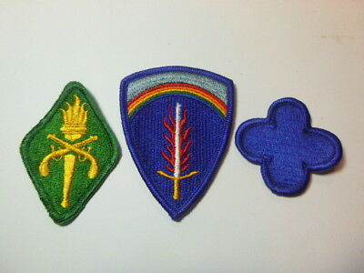 A   Lot of Three U S Army  Merrowed Edge  Patches # A-23