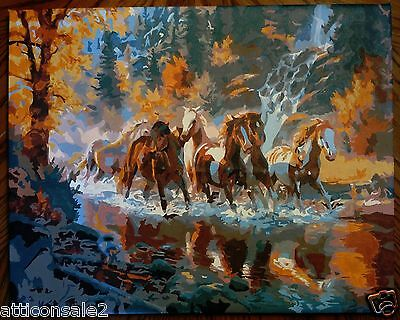 Finished Paint by Number Autumn Landscape HORSES 16 x 20 on Canvas Ready to Hang