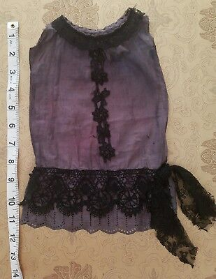 A36 Handmade Purple Drop Waist Doll Dress Antique Chemical Lace Edwardian Style