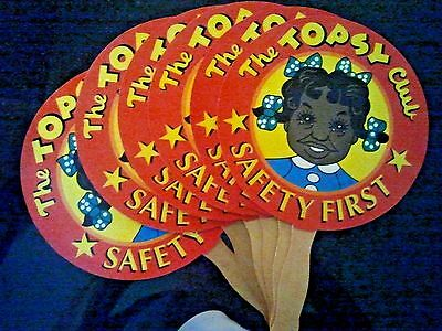 Lot of 6 TOPSY CLUB HAND CHURCH FANS DOLL ADVERTISING NICE