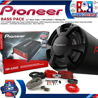 """Pioneer TS-WX306T 12"""" 1300w Car Audio Subwoofer Bass Tube Pack Gm-a3602 Amp Sub"""