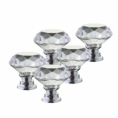 Vintage Crystal Clear Glass Door Knobs Transparent For Dresser Cupboard 12 Piece
