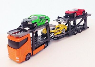 Diecast Car Transporter and three Vehicles Teamsterz Children's Toy Model Truck