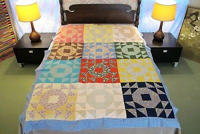 FULL Vintage Feed Sack, Other Cottons Machine Sewn SINGLE WEDDING RING Quilt TOP
