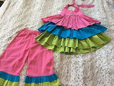Custom Resell Boutique Girls Rumba Ruffle Set Size 5 6 Couture Dress
