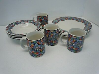 Vintage Coca Cola Dishes Place Set of 4 Plates Bowls Mugs by Gibson