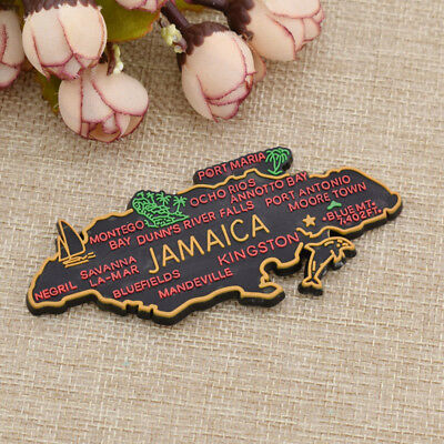 3d Souvenir Jamaica Map Tourist Travel Magnet Fridge Sticker Rubber