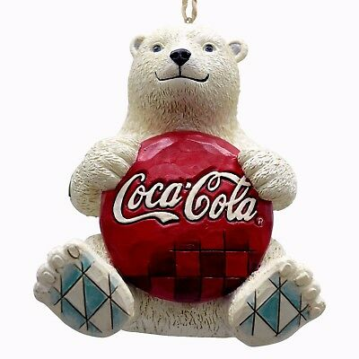 Jim Shore~Coca-Cola ~ Polar Bear Holding Coke Logo~Ornament~4059722~Christmas
