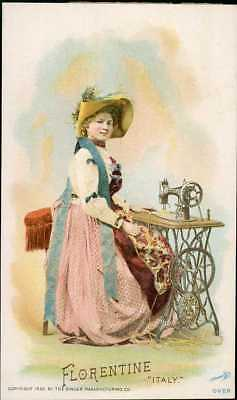 1892 Singer Sewing Machine Chromolitho Trade Card 99 Costume Of ITALY FLORENTINE