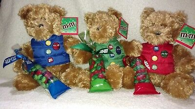 M&M's Plush Bears Wearing Red, Green & Blue Vests