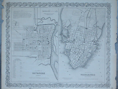 1855 ANTIQUE CITY MAP by G.W. and C.B. COLTON- TOWN PLANS, SAVANNAH & CHARLESTON
