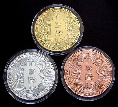 1 x Gold Silver & Bronze Plated Proof Bitcoin - Collectable Piece - Virtual Coin