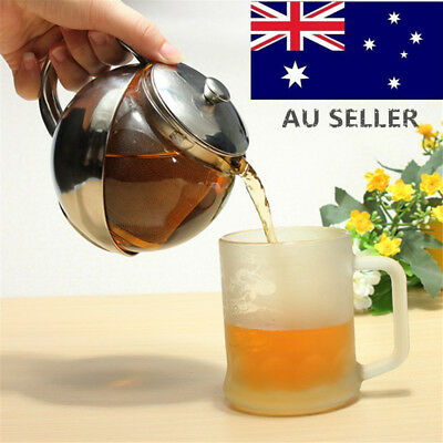 Loose Teapot Tea Leaf Kettle Glass + Stainless Steel With Infuser Filter 750ml