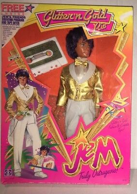 JEM DOLL GLITTER N GOLD RIO HASBRO 1986 New in the Box with Cassette Hasbro