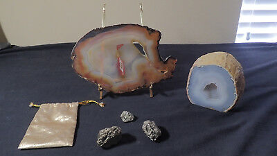 Agate Slices Polished Quartz Geodes  Polished lot of two and 3 stones metallic