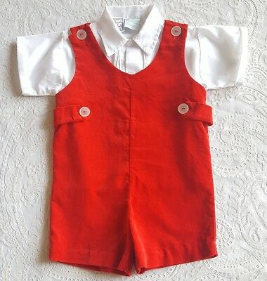 Vintage Baby Toddler Boy Red Velvet Jon Jon Romper Childrens Clothes Outfit
