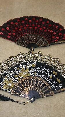 Set of 2 Japanese Red & Gold Multi Color Hand Fan Folding Fans