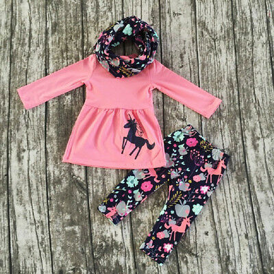 US Stock Toddler Girls Kids Floral Dress Unicorn Tops Pants Outfits Clothes Set