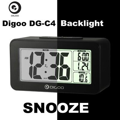 Digoo Sensitive Backlit Digital LCD Desk Dual Alarm Thermometer Snooze Clock NEW