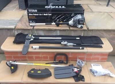 Titan 2-stroke petrol 4in1 multi tool with strimmer hedge trimmer pole chainsaw