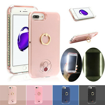 LED Light Up Selfie Case Power Bank Ring Hold Cover for Apple iPhone 6 6s 7 Lot