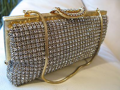 Vintage Gold T Prong Set Rhinestone Clasp Bridal Reverse Handle Clutch Purse