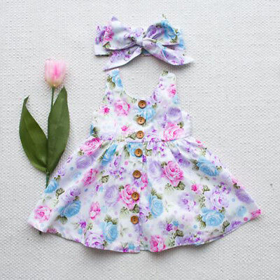 AU Stock Kids Baby Girls Princess Party Floral Dress Sundress Wedding Clothes