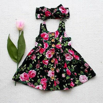 Sweet Toddler Baby Girls Kids Party Floral Sundress Summer Dresses Clothes