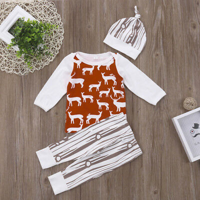 AU Stock Newborn Baby Girl Boys Deer Long Tops T-shirt Pants Outfits Set Clothes