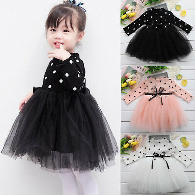 AU Stock Newborn Kids Baby Girl Long Sleeve Knit Skirt Dot Lace Tutu Tulle Dress