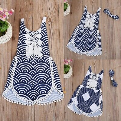 AU Stock Cute Summer Kids Baby Girl Lace Boho Romper Jumpsuit Outfit Set Clothes