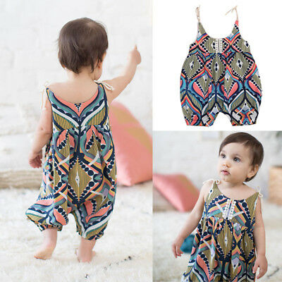 AU Stock Newborn Baby Girl Floral Boho Romper Suspender Outfits Clothes Summer