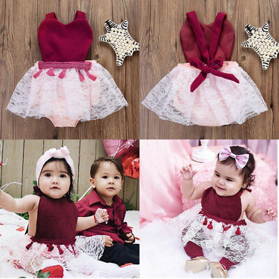 US Stock Christmas Kids Newborn Baby Girls Clothes Tutu Romper Lace Dress Outfit