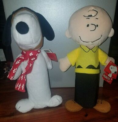 Lot of Two (2) Peanuts Snoopy & Charlie Brown Water Bottle Covered Dog Toys NEW!