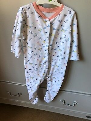 Baby Girl Butterfly Sleep Suit Romper 6-9 Months From Mothercare 💗