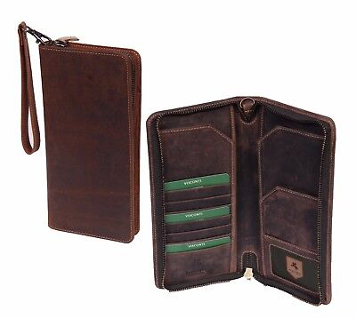 Genuine Leather Passport Boarding Ticket Document Wallet Wrist Bag with Gift Box
