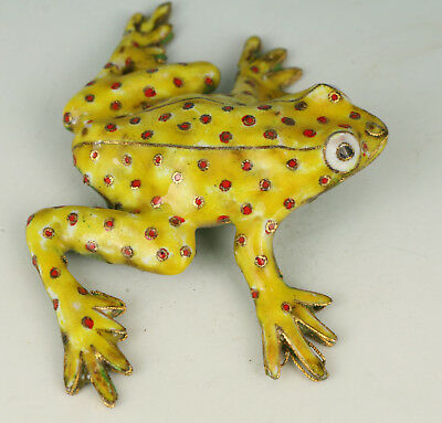 Lovely Cloisonne Collection Hand Painting Frog Statue Figure Gift