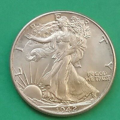 US 1942 Walking Liberty Silver Half Dollar AUnc