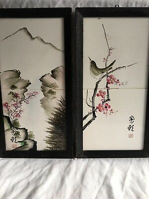 Vintage Pair Of Hand Painted Japanese Tiles In Frames