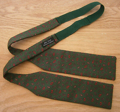 Vintage Green Red & Brown Silk Paisley Print Self Tie Bow Tie  Made In England